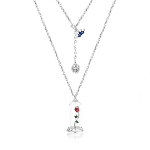 Disney Couture Beauty and the Beast Enchanted Rose Necklace - White Gold Plated
