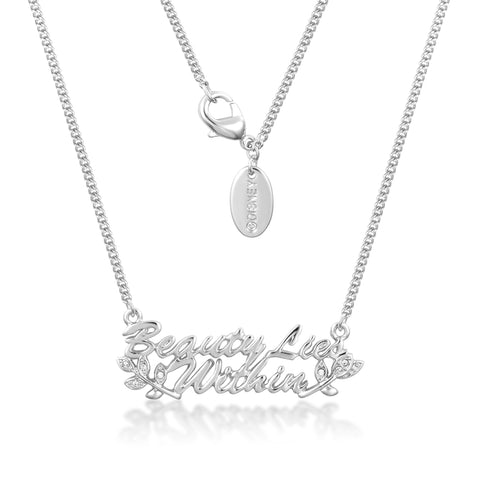 Disney Couture Beauty and the Beast Beauty Lies Within Necklace - White Gold Plated