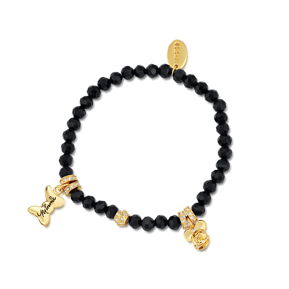 Disney by Couture Kingdom Mickey and Minnie Mouse Black Beaded Bracelet