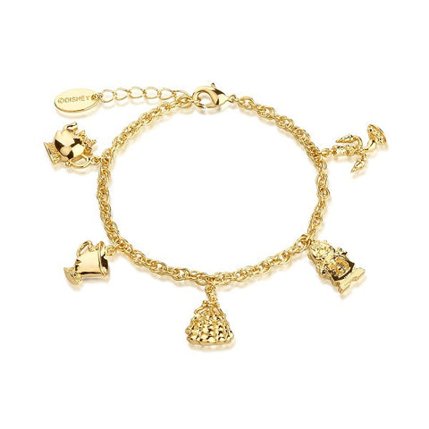 Disney Couture Beauty and the Beast Charm Bracelet - Yellow Gold Plated