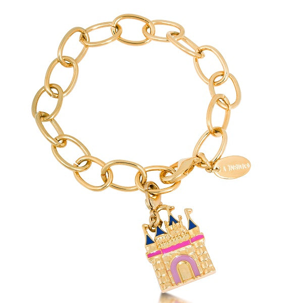 Disney Couture Gold Plated Magic Castle Charm Starter Bracelet
