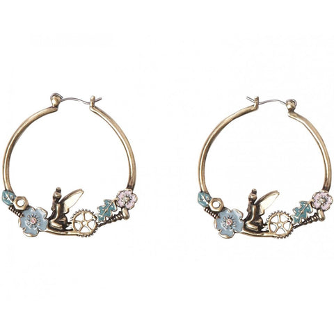 Disney Couture Pixie Hollow Tinkerbell Vintage Style Hoop Earrings