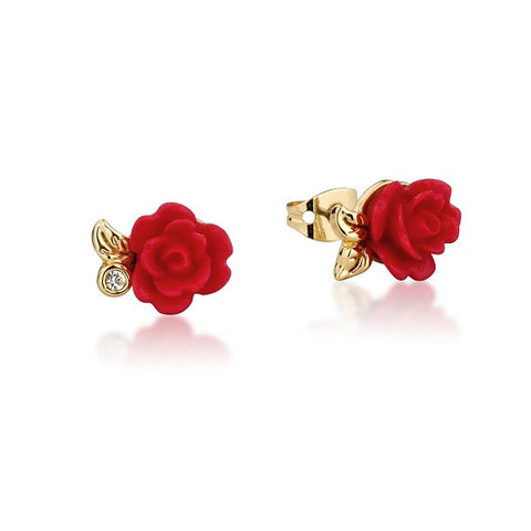 Disney Couture Beauty and the Beast Enchanted Rose Stud Earrings - Yellow Gold Plated