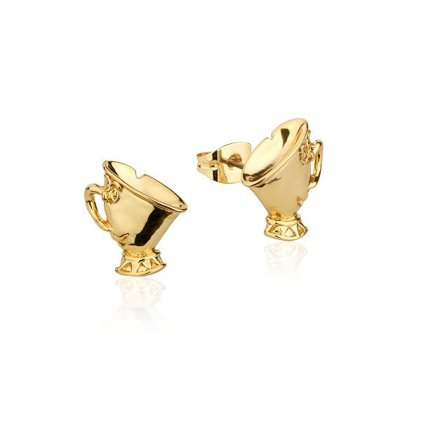 Disney by Couture Kingdom Beauty and the Beast Chip Tea Cup Stud Earrings - Yellow Gold Plated