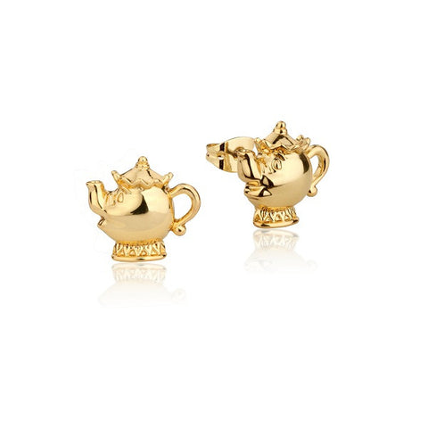 Disney Couture Beauty and the Beast Mrs. Potts Stud Earrings - Yellow Gold Plated