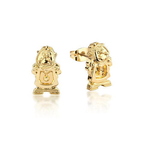 Disney Couture Beauty and the Beast Cogsworth Stud Earrings - Yellow Gold Plated