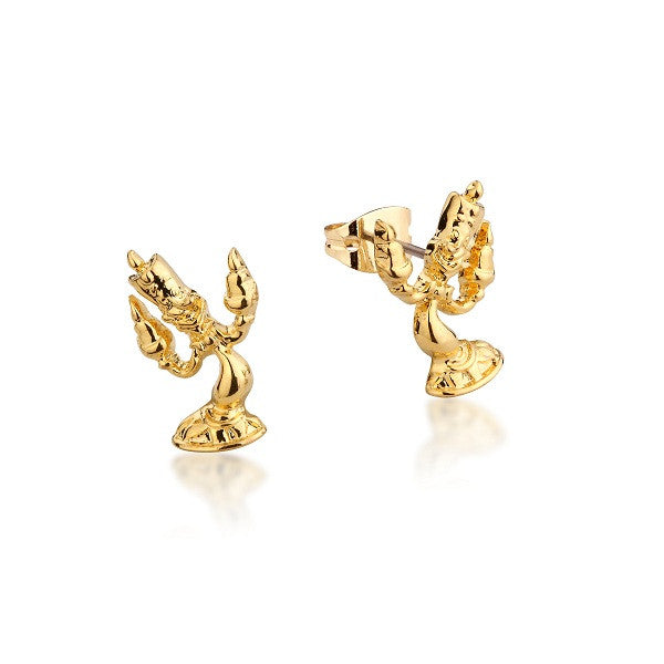 Disney Couture Beauty and the Beast Lumiere Stud Earrings - Yellow Gold Plated