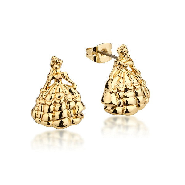 Disney Couture Beauty and the Beast Princess Belle Stud Earrings - Yellow Gold Plated