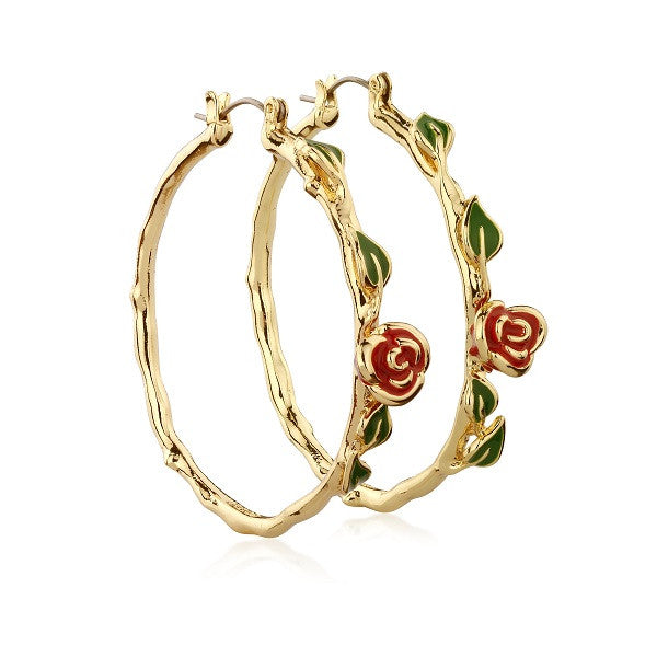 Disney Couture Beauty and the Beast Rose Hoop Earrings - Yellow Gold Plated