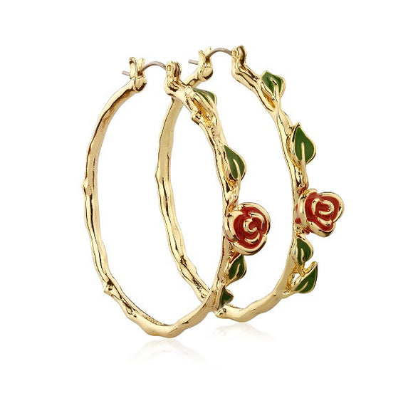 Disney by Couture Kingdom Beauty and the Beast Rose Hoop Earrings - Yellow Gold Plated
