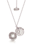 Disney Couture Alice in Wonderland Clock Necklace - White Gold Plated