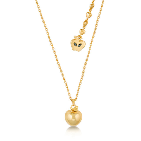 Disney Couture Snow White 3D Apple Necklace - Yellow Gold Plated