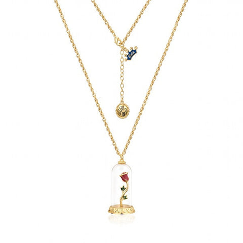 Disney Couture Beauty and the Beast Enchanted Rose Necklace - Yellow Gold Plated