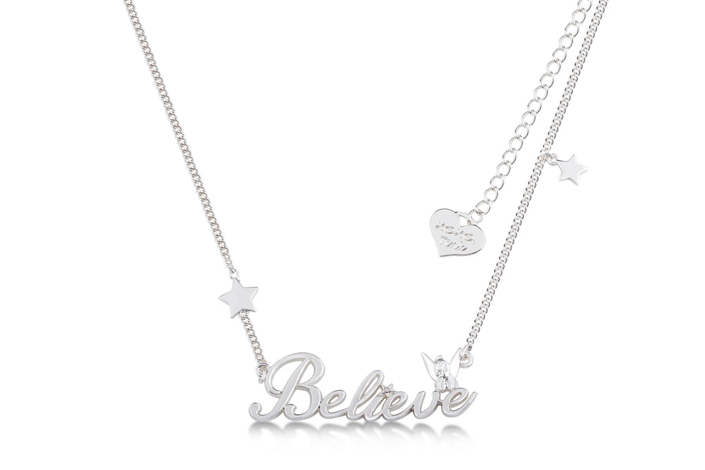 Disney Couture Tinker Bell Believe Necklace - White Gold Plated