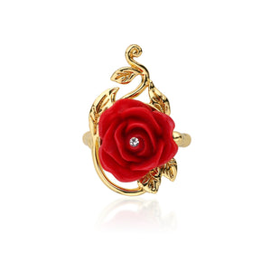 Disney by Couture Kingdom Beauty and the Beast Enchanted Red Rose Ring