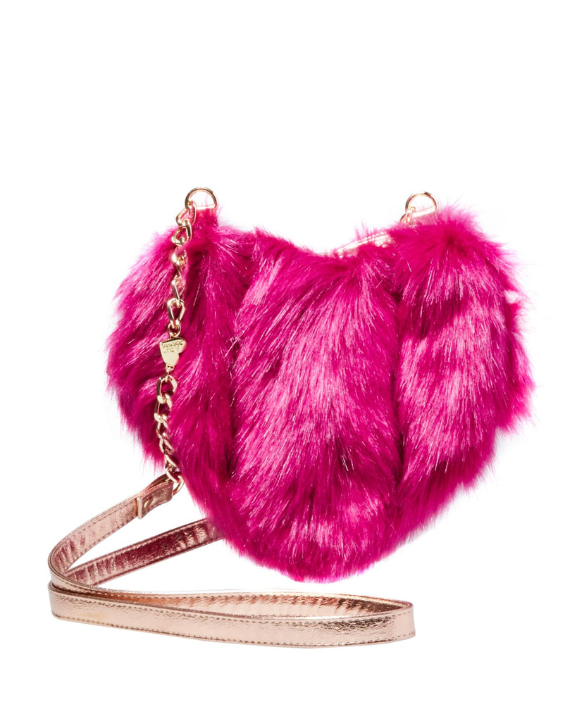 Betsey Johnson Fur Your Eyes Only Heart Crossbody Bag