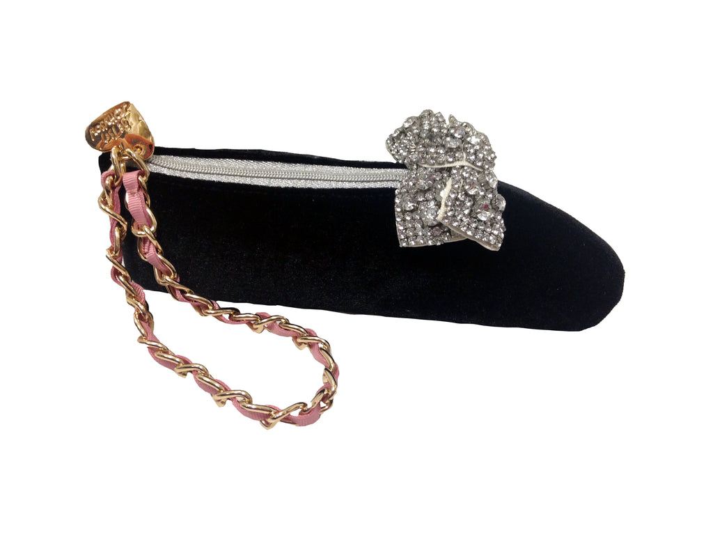Betsey Johnson Tippee Toe Velvet Black Ballet Slipper Wristlet
