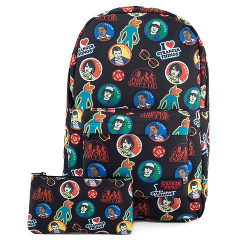 Loungefly Stranger Things Sticker 70s Backpack and Pencil Pouch Set