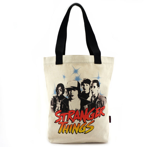 Loungefly Stranger Things Black and White Character Canvas Tote Bag