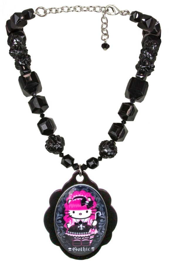 Tarina Tarantino Hello Kitty Pink Head Gothic Cameo Necklace