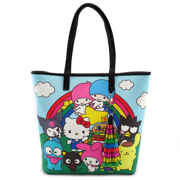 Loungefly Hello Kitty Sanrio Characters Rainbow Tote Bag