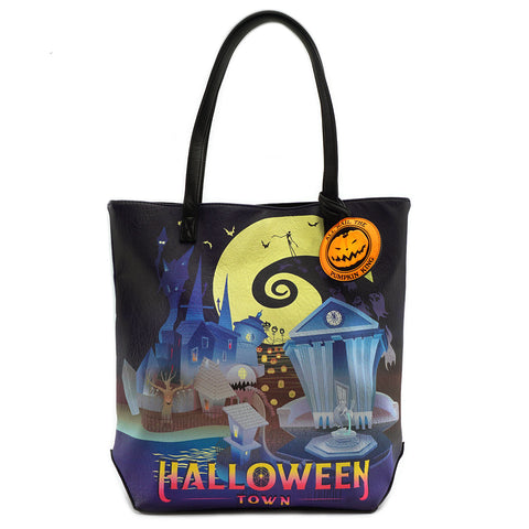 Loungefly The Nightmare Before Christmas Halloween/Christmas Town 2-Sided Tote Bag