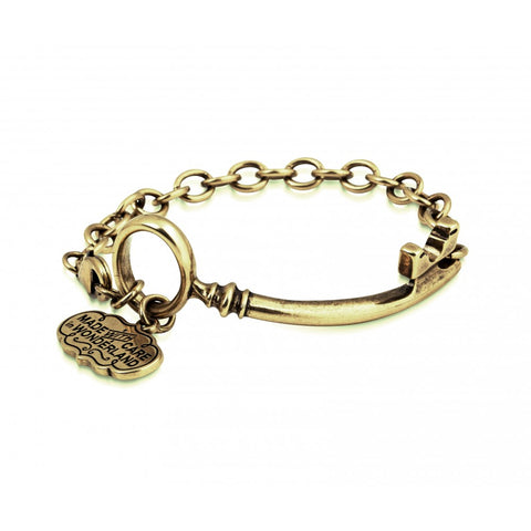 Disney Couture Alice in Wonderland Curved Key Bracelet - Yellow Gold Plated