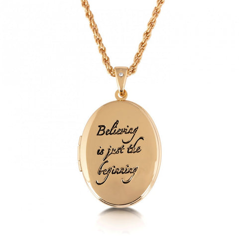 Disney Couture Believing is just the beginning Locket - Yellow Gold Plated