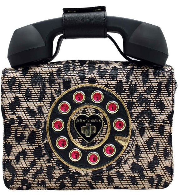 Betsey Johnson Mighty Jungle Leopard Print Phone Crossbody Bag
