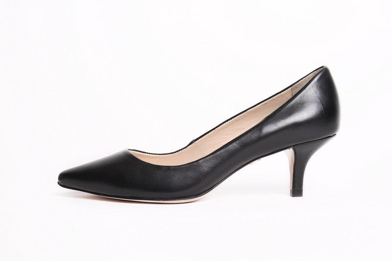 Women's Chandon Leather Kitten Heel - Color Black - by Guilhermina