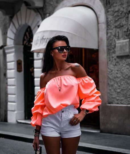 Zen Off Shoulder Orange Top