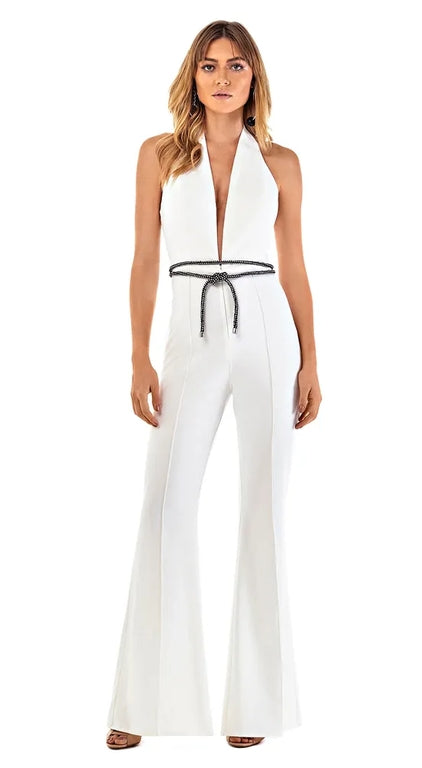 Julia White Open Back Jumpsuit