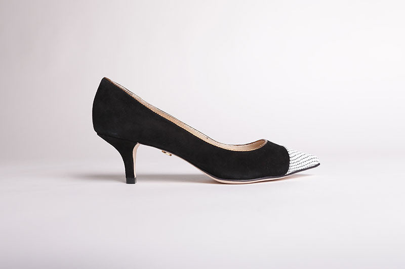 Women's Classic Suede Kitten Heel - Color Black & White - by Guilhermina