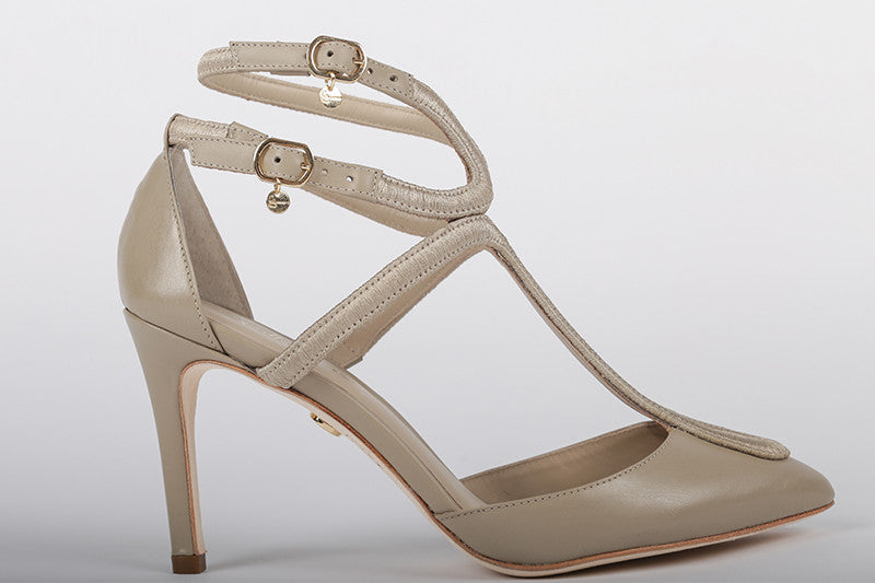 Women's  Spring Leather T-Strap Pump - Nude Color - by Guilhermina