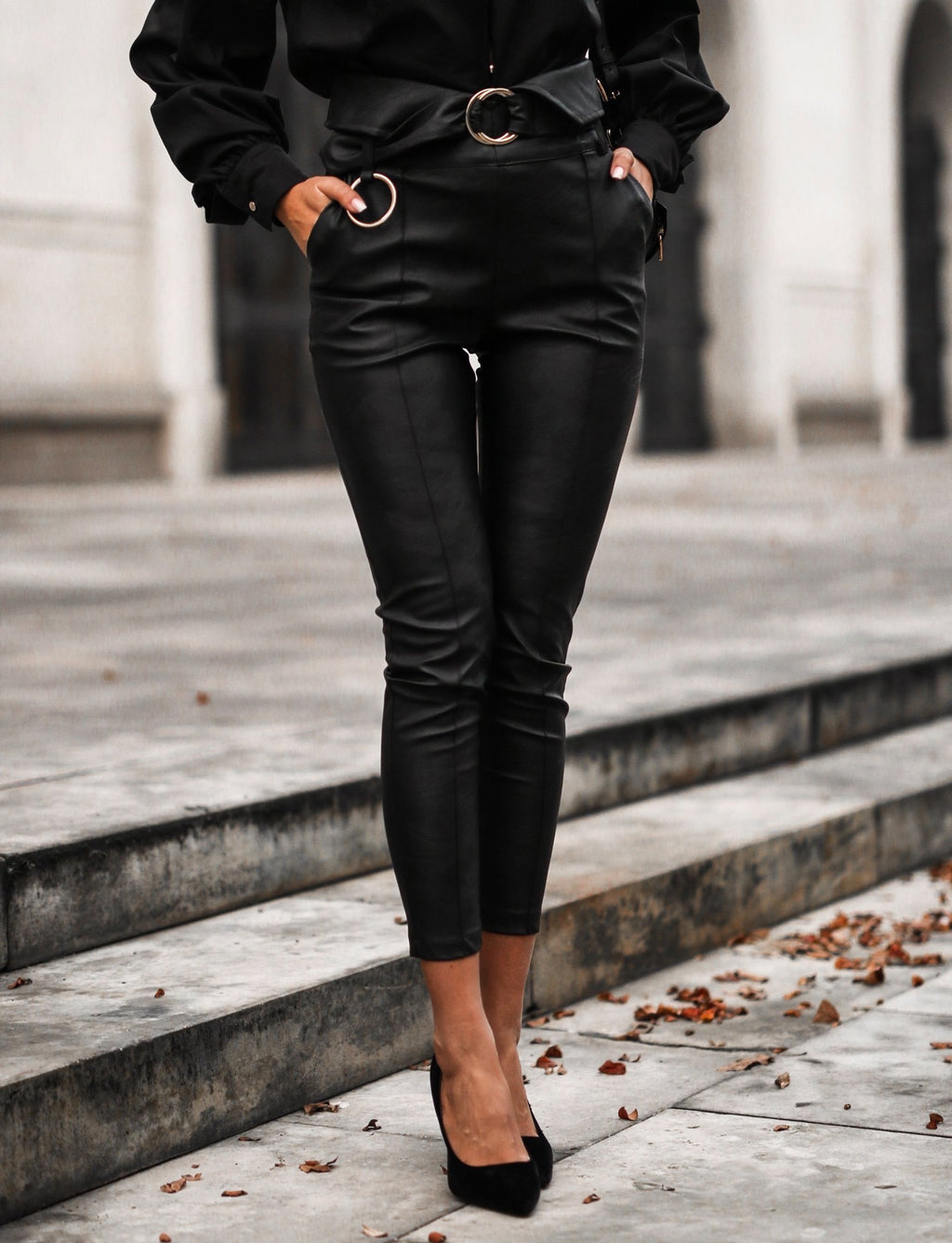 Annie High Waisted Vegan Leather Pants