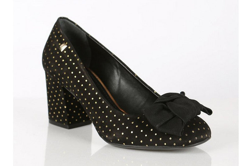 Loucos & Santos black and gold dots block heels