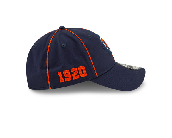Chicago Bears New 2019 NFL Sideline Road Official Head Logo 9TWENTY Adjustable Hat – Navy
