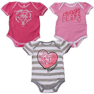 Infant Chicago Bears Girls Newborn 3-Piece Field Goal Creeper Set Pink/Gray