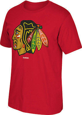 Chicago Blackhawks Hoodie Emblem Logo T-Shirt NHL Reebok Official Tee