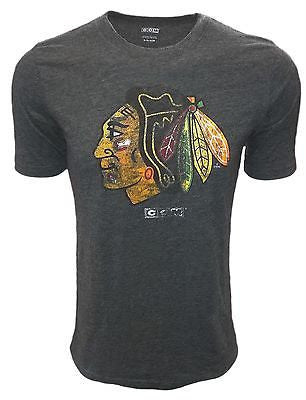 Youth Chicago Blackhawks Distressed Logo T-Shirt CCM NHL Official Tee