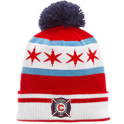 Chicago Fire SC Chicago Flag Cuffed Knit Po, Hat MLS Adidas Official Beanie