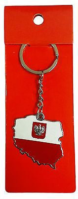 Poland Polska Country Flag Keychain Red and White Polish Key Chain