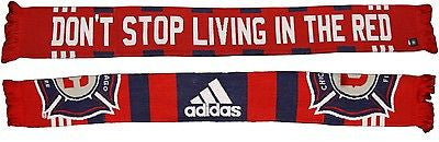 "Chicago Fire SC ""Don't Stop Living in The Red"" Scarf MLS Pride Adidas Official"