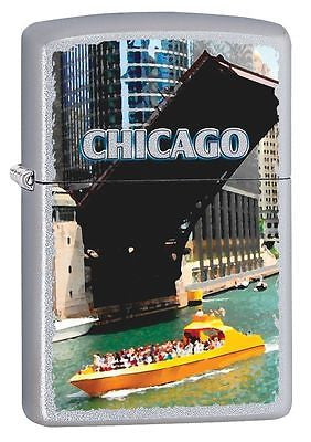 Chicago Waterfront Stain Chrome Classic Zippo Made in USA Windproof Lighter Z102