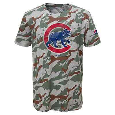 "Youth Chicago Cubs ""Home Run Hero"" Camouflage T-Shirt MLB Majestic Camo Tee"