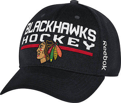 Chicago Blackhawks Hockey Structured Flex Hat NHL Reebok Official Fitted Cap
