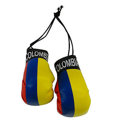 Colombia Country Flag Mini Boxing Gloves Pair Hang Automobile Mirror Pride