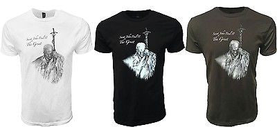"Saint John Paul II 2nd ""The Great"" Pope T-Shirt Catholic Church Pride Tee"