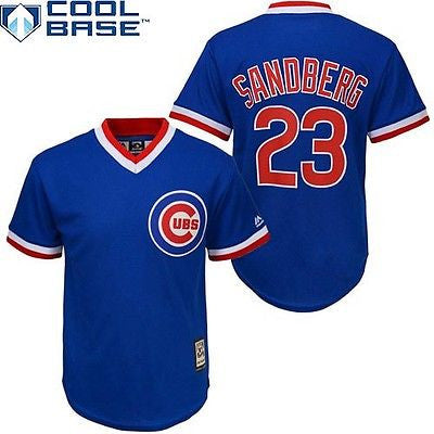 youth chicago cubs 23 ryne sandberg cool base cooperstown jersey mlb official cubs 23 ryne sandberg