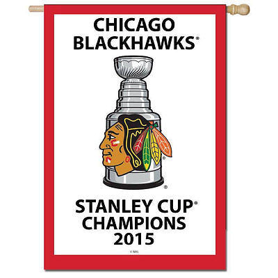 "Chicago Blackhawks 2015 Cup Champions Flag Embroidered Banner 28""X44"" Two Sided"